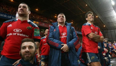 Munster's Damien Varley Dave Kilcoyne and Donncha O'Callaghan watch the last minutes of the game against Gloucester in the Heineken Cup, Thomond Park, Limerick. Photo :Billy Stickland / INPHO