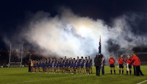 The Australia team stand for Their National Anthem before the Irish Daily Mail International Rules Series 1st Test, at  Kingspan Breffini Park, Co. Cavan. Photo : Donall Farmer / INPHO