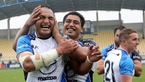 Connacht's George Naoupu and Rodney Ah You celebrate  after defeating Zebre in the Heineken Cup, Stadio XXV Aprile, Parma . Photo : James Crombie / INPHO