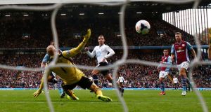 Tottenham Hotspur's Roberto Soldado (centre) scores against Aston Villa at Villa Park. Photograph: Eddie Keogh/Reuters