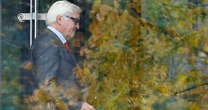 Parliamentary floor leader of the German Social Democratic Party Frank-Walter Steinmeier arrives for a party meeting in Berlin yesterday. Photograph: Reuters/Tobias Schwarz