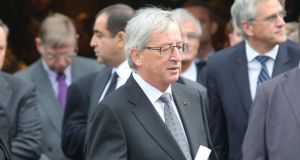 Luxembourg prime minister Claude Juncker attends the state funeral of the late Belgian prime minister Wilfried Martens at Sint Baafs Kathedraal in Ghent on Saturday. Photograph: Mark Renders/Getty Images