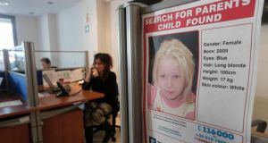 A poster of a four-year-old girl known as Maria, who was found living with a couple in a Roma camp in central Greece, is pictured in the office of the charity Smile of the Child, which is taking care of the child as police search for her biological parents. Photograph: Reuters/John Kolesidis