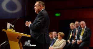 Scottish first minister and SNP leader Alex Salmond makes his keynote speech at the SNP autumn conference at the Perth Concert Hall.  Photograph: Mark Runnacles/Getty Images