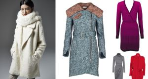 Clockwise from left: white stole (€61), cream jumper (€40), cream coat (€114), beige polyurethane trousers (€47), all at River Island; wool coat, €720 by Carven at Brown Thomas; purple knit wrap dress, €430 by Missoni from Anastasia, Ranelagh (Anastasia.ie); red belted cardigan, €80 at Bow & Pearl, Ranelagh (bowandpearl.ie); jersey polo neck dress, €179 by Fran and Jane (franandjane.com)