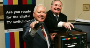 Broadcaster Gay Byrne and Minister for Communications Pat Rabbitte launching Saorview last year. Photograph: Cyril Byrne / The Irish Times