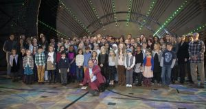 Wicked winners 2012: Michael Morpurgo (front) with members of the  cast and finalists at last year's Wicked Young Writers' Awards