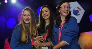 File photograph of the winners  of the 2013 BT Young Scientist and Technology Exhibition: Emer Hickey, Sophie Healy- Thow and and Ciara Judge  from Kinsale Community School Co Cork.Photograph: Aidan Crawley