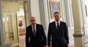 Spain's Justice Minister Alberto Ruiz Gallardon (right) and Spain's Interior Minister Jorge Fernandez Diaz before a joint news conference in Madrid on Monday. Photograph: Reuters