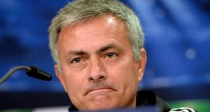 José Mourinho during a press conference in Düsseldorf. Photograph: Sascha Steinbach/Bongarts/Getty Images