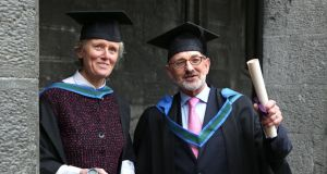Lorna Siggins and Michael Murphy at their conferral yesterday. Photograph: Joe O'Shaughnessy
