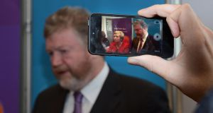 Dr James Reilly, Minister for Health and Frances Fitzgerald, Minister for Children and Youth Affairs speaking to reporters after the launch of the SafeFood campaign on childhood obesity yesterday.