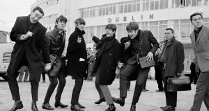 The Beatles arrive in Ireland to play their only gig in the country in the Adelphi Cinema on November 7th, 1963. Alongside the Fab Four is radio & TV personality Paul Russell (left), with Frank Hall appearing on the right of the picture. Singer Donovan gave a lecture on the White Album, one of a series of 12 lectures on each of The Beatles' albums taking place to mark the 50th anniversary of the band's only Irish concert.