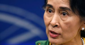 Myanmar pro-democracy leader Aung San Suu Kyi answers journalists' questions during a news briefing after receiving her 1990 Sakharov Prize  during an award ceremony,  at the European Parliament in Strasbourg today. Photogrraph: Vincent Kessler/Reuters