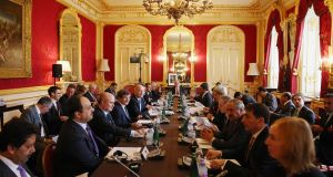 Foreign ministers conduct a meeting of the 'London 11', from the Friends of Syria Core Group, in Lancaster House, London. Photograph: Oli Scarff/WPA Pool/Getty Images