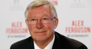 Former Manchester United manager Alex Ferguson before a news conference for his new autobiography at the Institute of Directors in London. Photograph: Luke MacGregor/Reuters