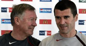 Alex Ferguson and captain Roy Keane before their relationship soured. Photograph: Phil Noble/PA Wire