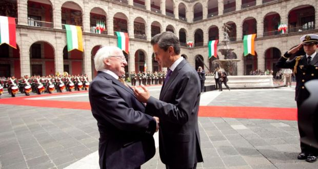 "President Michael D Higgins pictured with President Enrique Pena Nieto, President of Mexico at the Palacio Nacional in Mexico City yesterday, on the second day of the President's 12 day official visit to Mexico, El Salvador and Costa Rica. Mr Higgins told his Mexican counterpart that the two countries ""can further boost trade and investment"" between them. Photograph: Chris Bellew /Copyright Fennell Photography 2013"