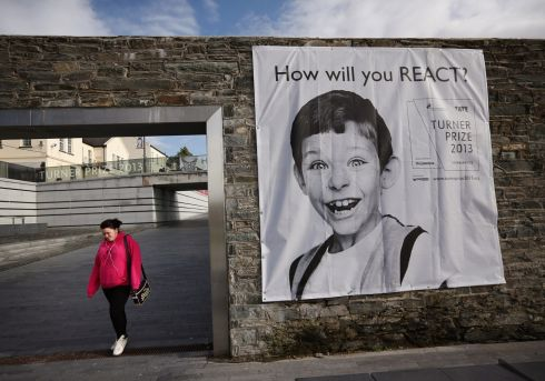 A poster at Ebrington Square, the venue of the 2013 Turner Prize. Photograph: Dan Kitwood/Getty Images