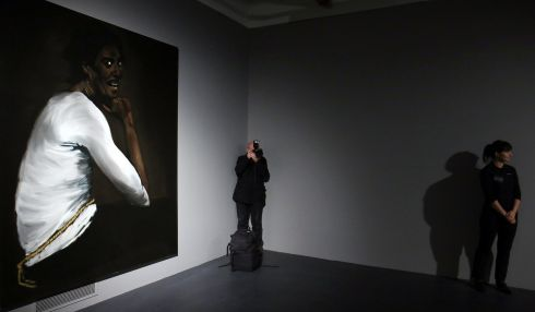 Turner Prize nominee Lynette Yiadom-Boakye's art work at the press preview of the 2013 Turner Prize exhibition in Derry. Photogrpah: Paul Faith/PA Wire