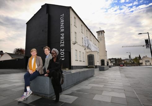 Turner Prize nominated artists David Shrigley (c), Lynette Yiadom-Boake (r) and Laure Prouvost (l) at Ebrington Square. Photograph: Dan Kitwood/Getty Images