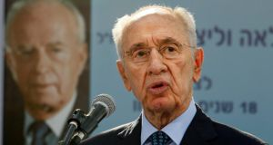Shimon Peres, who met European Commission vice-president Antonio Tajani today. Photograph: Gali Tibbon/Reuters