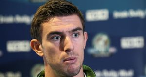 Ireland's Colm Begley at yesterday's International Rules Series  press conference in  Croke Park. Photograph:  Dan Sheridan/Inpho