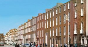 View from Baggot Street showing the ESB plans to redevelop their offices on Fitzwilliam Street, Dublin