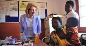 File photograph of Minister of State Jan O'sullivan visiting the Irish Aid-supported Mandimba Health Centre in Mozambique. Irish companies, including Kenmare Resources (mining), Kentz (engineering) and Tullow Oil (oil exploration), have significant investments in Mozambique, and Irish Aid counts it as one of its key partner nations