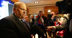 Minister for Finance Michael Noonan will meet with ECB chief Mario Draghi in Frankfurt later today. Photograph: Eric Luke/Irish Times