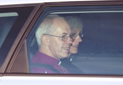Archbishop of Canterbury Justin Welby and his wife Caroline arriving at Chapel Royal in St James's Palace, ahead of the christening of the three month-old Prince George of Cambridge. Photograph: Yui Mok/PA Wire