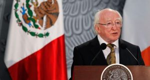 Ireland's President Michael D Higgins speaks during a welcoming ceremony at the National Palace in Mexico City earlier this week. Photograph: Edgard Garrido/Reuters