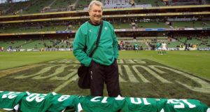 "Paddy ""Rala"" O'Reilly laying out the Ireland jerseys before the Autumn Internatioal against Samoa in November 2010. Photograph: Dan Sheridan/Inpho"