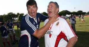 British and Irish Lions baggage master  Rala O'Reilly with Donncha O'Callaghan. Photograph: Dan Sheridan/Inpho