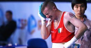 Ireland's Paddy Barnes after his defeat to Jasurbek Latipov of Uzbekistan in Almaty. Photograph: Cathal Noonan/Inpho