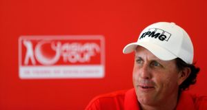 Phil Mickelson  during a news conference at the Kuala Lumpur Golf and Country Club  in Kuala Lumpur  ahead of the CIMB Classic tournament.