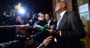 Solicitor Waheed Mudah speaks to the press after the court  ruling. Photograph: Cyril Byrne/The Irish Times