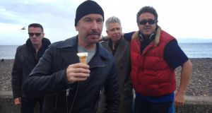 Larry, Edge, Adam and Jason Forde on Bray seafront. Photograph: Jason Forde