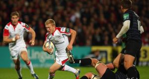 Stuart Olding   in action during the Heineken Cup match between Ulster and Leicester Tigers at Ravenhill . Photograph: Bryn Lennon/Getty Images