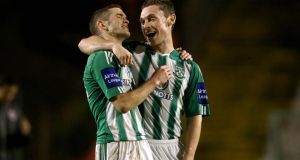 "Bray's Kieran ""Marty"" Waters and John Mulroy celebrate at the final whistle in last week's game against Bohemians."