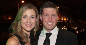 Ronan O'Gara and his wife Jessica  in Cork last night for the testimonial dinner.  Photograph: Brian McEvoy