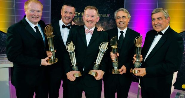 Winners of the EY Entrepreneur of the Year  Kieran Fitzpatrick and Maurice Curran from Barracuda FX, Patrick Joy from Suretank, Brian Hogan from KSG and Special Award winner Denis Brosnan from Kerry Group. Photograph: Aidan Crawley