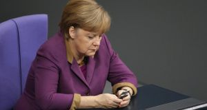 German media reported this week that German authorities had evidence that the National Security Agency has been eavesdropping on Chancellor Merkel's mobile phone. Dr Merkel spoke with US President Barack Obama to complain and the incident has caused an international outcry among politicians across Europe. Photograph: Sean Gallup/Getty Images