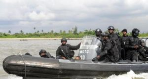 Nigerian Special Forces on patrol in the Niger Delta.