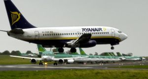 A Ryanair plane comes in to land at Dublin Airport. File Photograph: Eric Luke/The Irish Times
