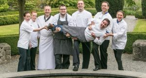 Kilkenny chefs  Mary McEvoy, proprietor of A Slice of Heaven; Grainne Somers, head chef at The Pembroke Hotel; Gerald Dunne, executive head chef at Lyrath Estate Hotel; Ken Harker, head chef at the Lady Helen restaurant at Mount Juliet; Matus Pollack, head chef at the Kilkenny Hibernian Hotel; Mark Gaffney, executive chef at the Ormonde Hotel and Helen Costello of the pop-up vegetarian restaurant, holding  TV3's Ireland AM chef Edward Hayden