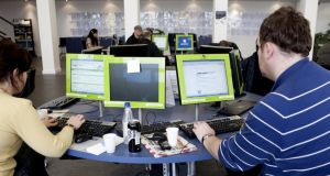 Danish jobseekers: people search for work at a job centre in Copenhagen. Photograph: Esben Salling/AFP/Getty