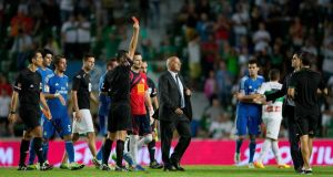 Referee Cesar Muniz Fernandez shows the red card to Carlos Sanchez of Elche after the La Liga match against  Real Madrid  at Estadio Manuel Martinez Valero in September. Photograph:  Gonzalo Arroyo Moreno/Getty Images