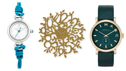 Blue friendship braclet watch, €12 Oasis.  Tree wall clock, €41, Next. 'Baker' watch, €109, Marc by Marc Jacobs at House of Fraser.