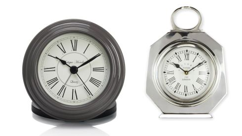 Mini station alarm clock, €40, Marks & Spencer. Chrome carriage clock, €48, Next.